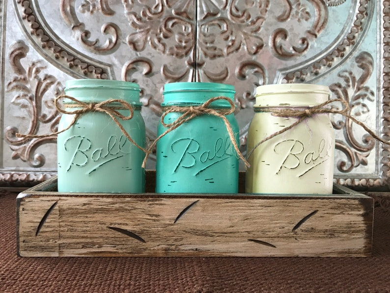 Flowers optional 3 Ball Canning Painted Pint Jars Distressed Wood MASON Jar Decor Centerpiece -Antique White TRAY with Reclaimed Handles