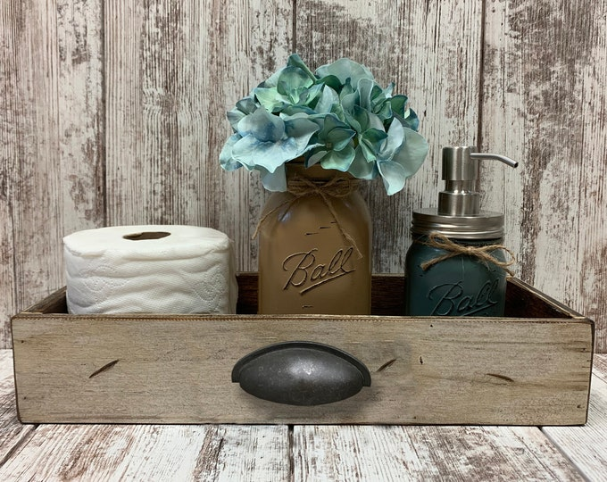 WOOD Tray Drawer with METAL Handle *Bathroom, Kitchen, or Living Room *Distressed Rustic White Gray 15.75 x 6 Accessories Sold Separately