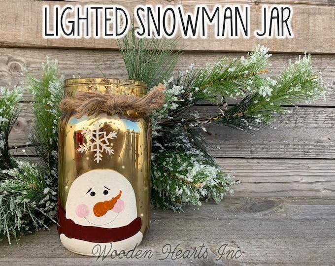 Lighted Snowman Jar Fairy LED Lights Handpainted Mercury Silver Gold Metallic Glass Quart Christmas Xmas Decoration Holiday Winter Decor