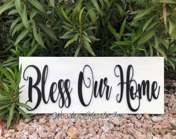 BLESS OUR HOME Sign Wood, 3D  Lettering, Wall Horizontal Porch Entryway Door Housewarming Gift House 9x24 White Gray Black Wooden Plaque