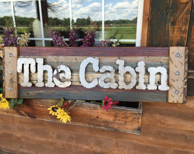 THE CABIN Rustic Sign BURG Reclaimed Shutter Distressed Industrial Red Blue Green Burgundy Metal Large Pallet Wall Lake Gift Home Decor Log