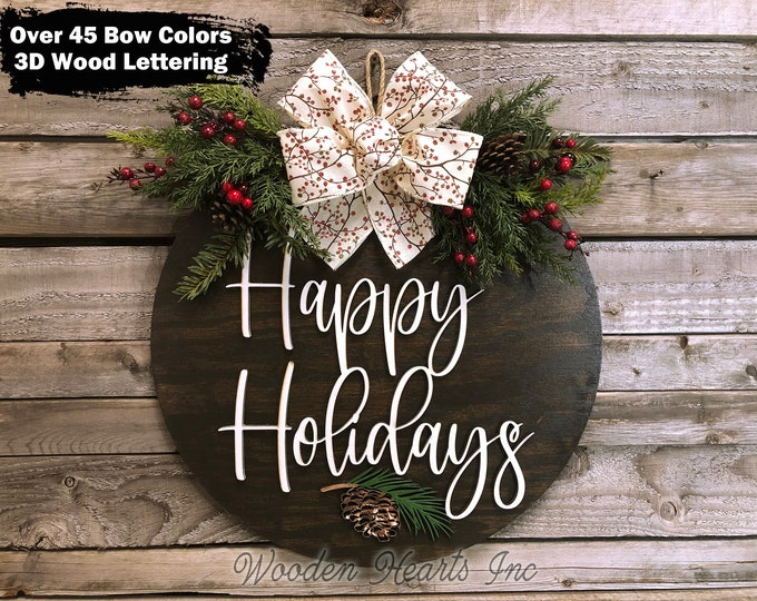 """Happy Holidays Door Hanger Wreath Wood Round Pinecone Sign Greenery, Merry Christmas, Seasons Greetings, 16"""" 3D Wood Letters +Bow, Xmas Gift"""