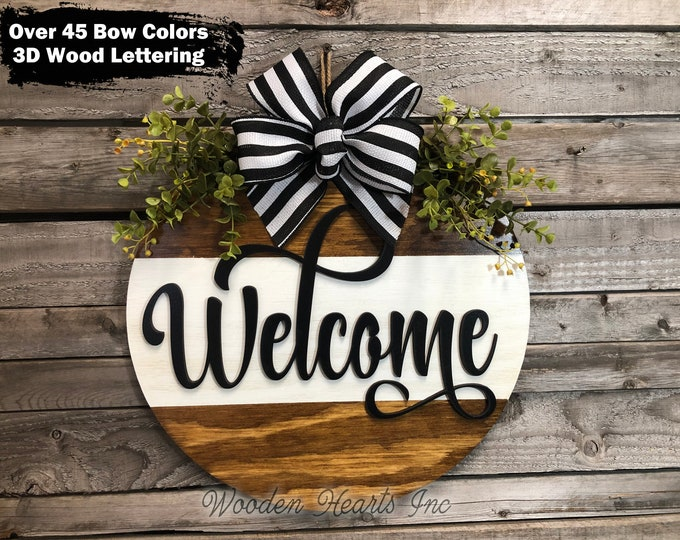 """Front Door Sign WELCOME Hanger 16"""" Round with STRIPE, 3D Wood Wreath Bow, Porch Everyday Sign, Fall Sign, Housewarming, Anniversary Gift"""