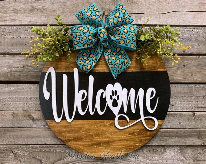 "Front Door Decor, DOG WELCOME Sign Hanger 16"" Pawprint Round with STRIPE, 3D Wood Wreath Bow  Everyday Sign Cat Pet, Fall Door Hanger, Gift"
