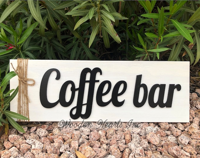 COFFEE BAR Sign Wood, 3D Lettering with Jute Rope, Home Kitchen Cafe Coffee Shop Housewarming Gift House 7x20 White Gray Black, Horizontal