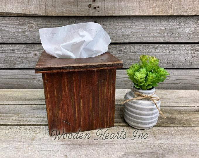 "TISSUE BOX COVER, Wood Kleenex Holder, Square, Kitchen Bathroom, Wooden rustic distressed decor, antique red blue gray white cream 6"""
