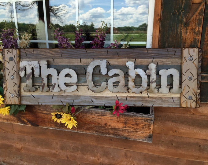 THE CABIN Rustic Sign BROWN Reclaimed Shutter Distressed Industrial Blue Green Burgundy Metal Large Pallet Wall Lake Gift Home Decor Log