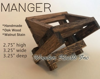 BABY MANGER -Walnut Wood -Compatible to display with Willow Tree Angel Nativity Pieces -Accessory for our STABLE Creche *Nativity Distressed