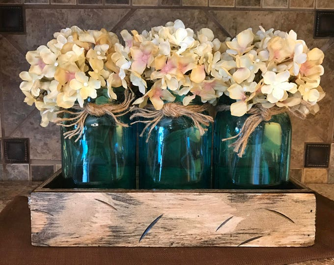 QUART Jar Centerpiece in Antique White QT TRAY with 3 Jars Twine, Kitchen Decor with Optional Flowers, Amber Yellow, Ruby Red, Sapphire Blue