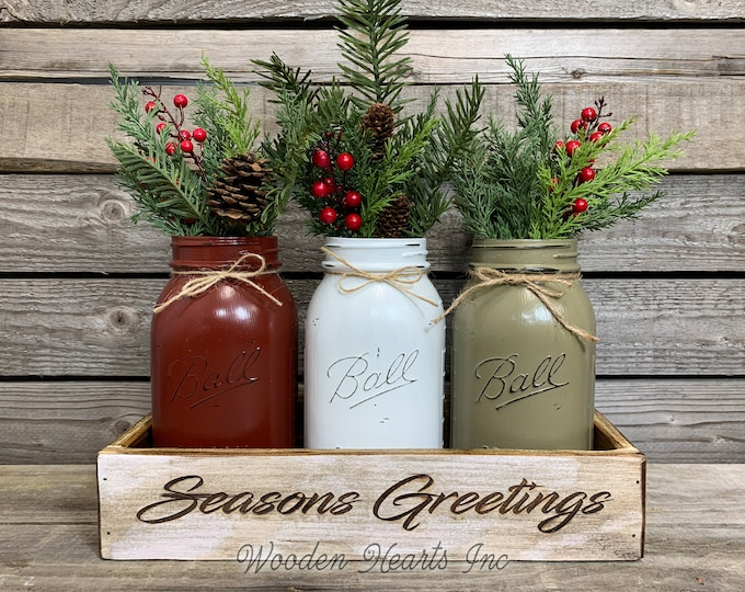 Happy Holidays Christmas ENGRAVED White Tray Kitchen Table Centerpiece CUSTOMIZE Painted Pint Mason Jars Set Evergreen Pine Berries Name