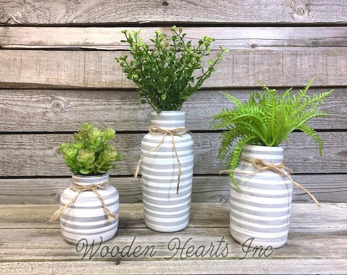 vase SUCCULENT PLANTS in Ceramic Pottery bottle  striped gray white Pot Jar Mini Farmhouse Home Decor Distressed  Cute Garden Greenery
