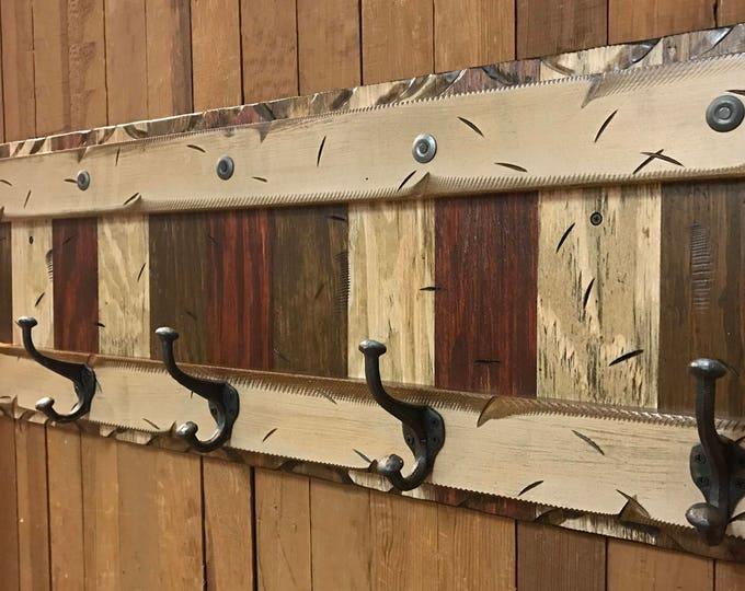"COAT Rack Wall 5 Hook Rustic Reclaimed Distressed RED BROWN Sturdy Wood Cabin Entryway Mudroom Bathroom Office Antique White Cream Log 44"""