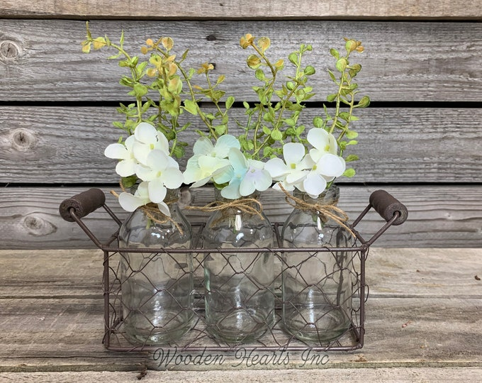 Chicken Wire Tray with 3 Glass Bottles & greenery in each jar *Farmhouse Home Basket Decor bathroom living room bedroom *Metal, Wood handles