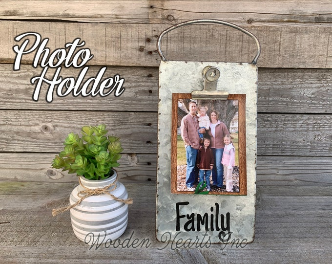 Family PHOTO HOLDER Metal Antique Cheese Grater with Clip/Clipboard Picture Frame great for 4x6 photos -Vintage Rustic Silver, Grand Dogs