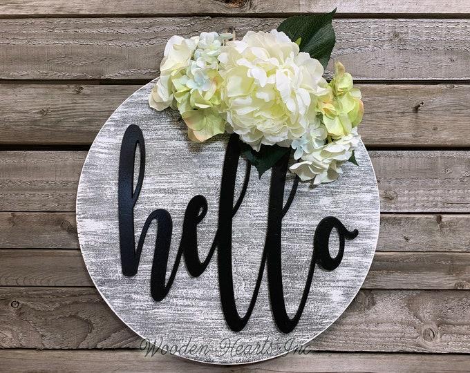 """Spring Door Hanger Welcome Hello Wreath + Flowers, Front Door Decor, Summer, 16"""" Round Sign, Easter Peony Hydrangea Wall Mount White, Gift"""