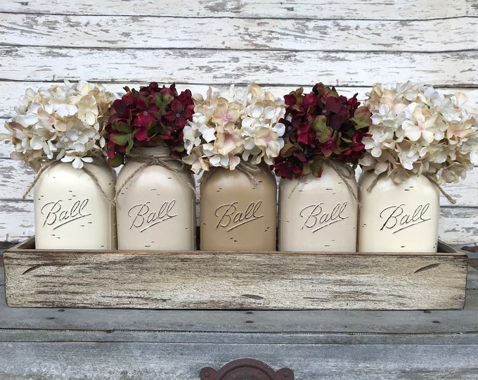 MASON Jar Decor Centerpiece (Flowers optional) -Antique Wood TRAY Rusty Handles- 5 Ball Canning Painted QUART Jars Distressed Red White Blue