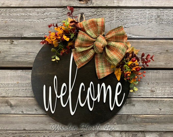 """FALL Door hanger Wreath, Welcome Sign, Hello Sign, Wood Round Wall Sign, 12"""" or 16"""" 3D Wood Lettering, Bow  Leaves, Fall Sign, Fall Gift"""