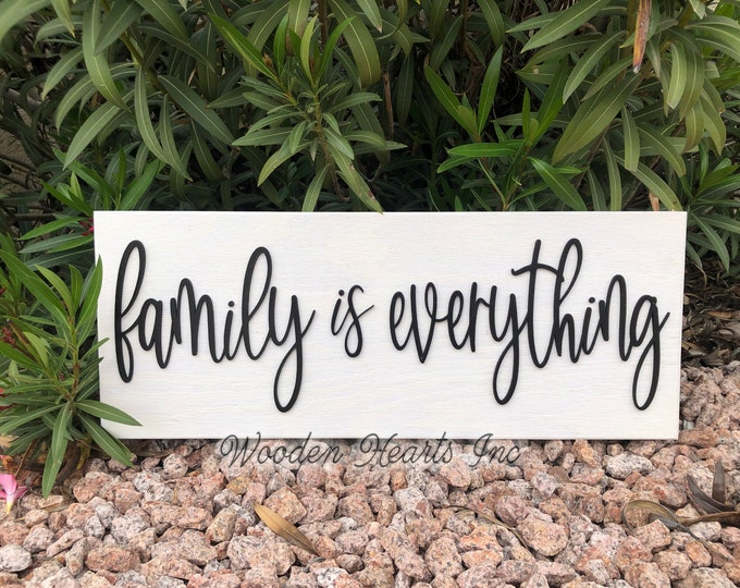 Family is Everything Sign Wood, 3D  Lettering, Home Wall Horizontal Housewarming Gift House 9x24 White Gray Black Wooden Plaque