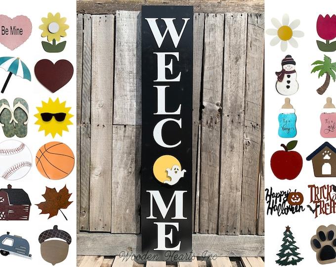 "Interchangeable Season Changer Welcome Sign 45"", Large Vertical Porch Sign, Front Door, Seasonal Holiday, Housewarming Gift, Black Halloween"