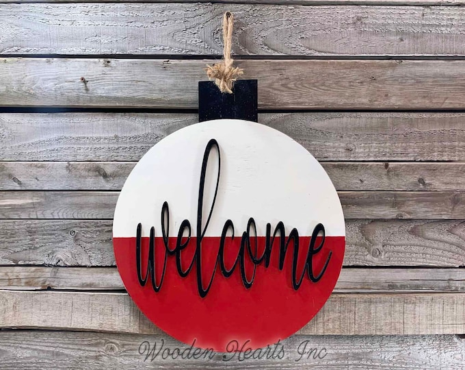 WELCOME Sign for front porch Outdoors to the Lake River home Fishing Decor BOBBER Door Hanger Cabin Summer Beach House Wall Retirement Dad