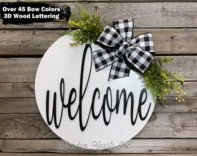 """Front Door Decor, Welcome Hanger 16"""" Round 3D Wood Letters Sign Wreath with Bow Ribbon Greenery, Everyday Sign Distressed, Fall Decor Gift"""