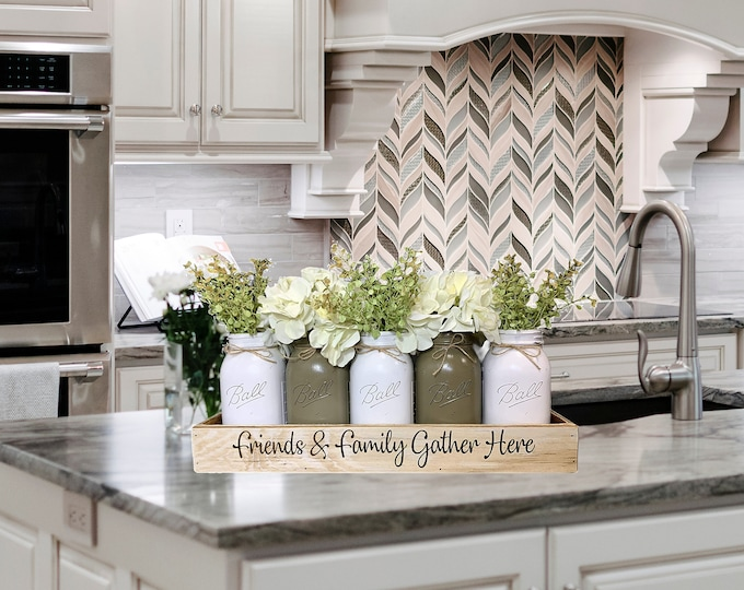Centerpiece Tray personalize CUSTOM Engraved Wedding Kitchen Table Painted Quart or Pint Mason Jars tray gift Friends and Family gather here