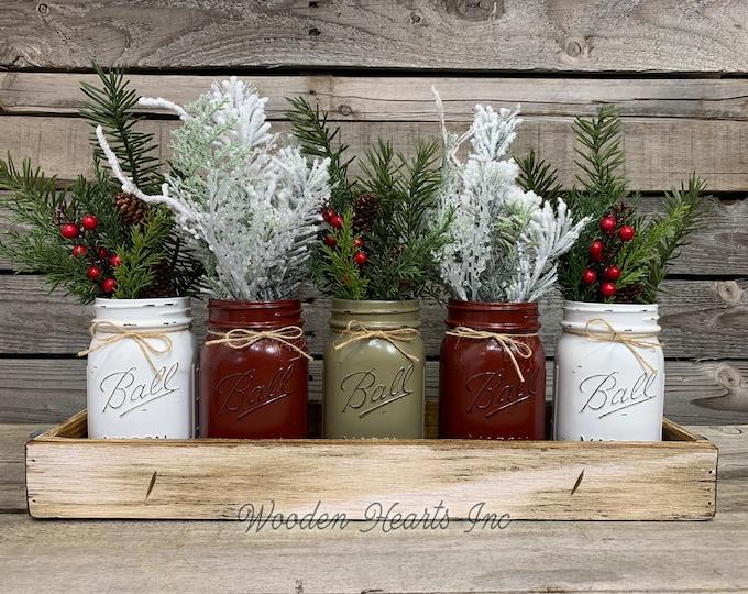 Mason Jar Centerpieces CHRISTMAS HOLIDAY Tray with 5 Jars, Holiday Wood Tray, Christmas Gift, Kitchen Table Decor, Table Centerpiece, Gift