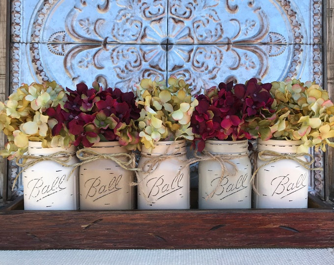 MASON Jar Decor Centerpiece (Flowers optional) -Antique TRAY with Reclaimed Handles- 5 Ball Canning Painted Pint Jars Distressed Wood