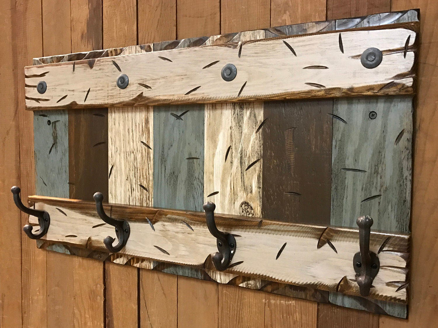Famous COAT RACK Wall with Metal 4 Hooks Rustic Reclaimed Distressed  HR66