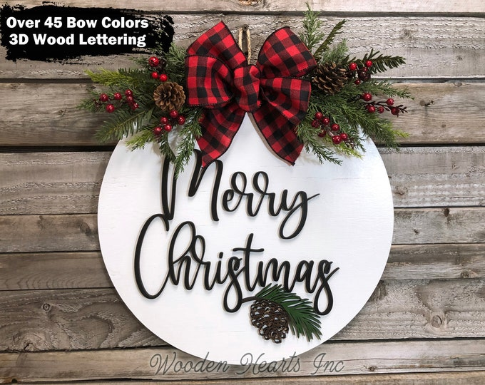 """Merry Christmas Holiday Door Hanger Wreath, Wood Round Pinecone Sign, Happy Holidays, Seasons Greetings, 16"""" 3D Wood Letters, Xmas Gift"""