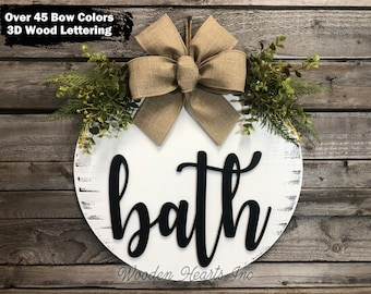 """Bathroom Wall Decor Farmhouse BATH 16"""" Wood Round Sign Fall Wreath with Greenery Door Home Decorations Hanging White Gray"""