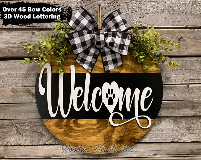 """WELCOME Sign Front Door Hanger Dog paw, 16"""" Round 3D Wood Wreath + Bow, Personalize, Greenery, Gift Mom Wedding Custom, Fall Door Sign, Gift"""