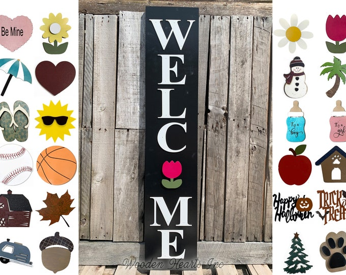 """Season Changer Welcome Sign 45"""", Large Vertical Porch Interchangeable Sign, Front Door, Seasonal Holiday, Housewarming Gift, Black Spring"""