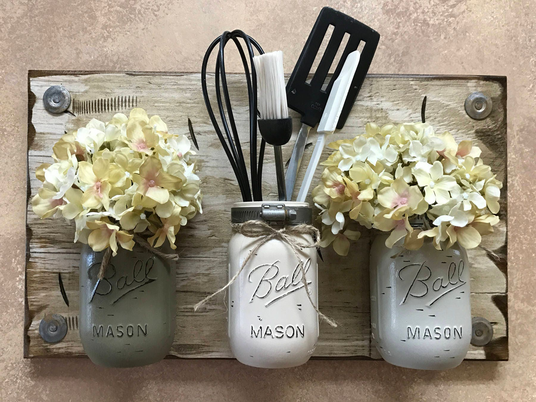mason jar wall decor MASON Jar Wall Decor Sconce (Flowers optional) *Kitchen Utensil  mason jar wall decor