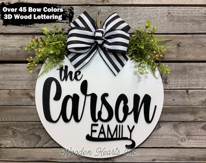 """Personalized Door Hanger Welcome Wreath + Custom Family Last Name, Bow Greenery Front Decor Everyday 16"""" Round, Fall Sign, Personalized Gift"""