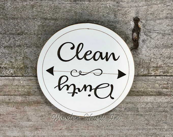 Dishwasher MAGNET CLEAN DIRTY Sign Indicator with Strong Magnet Round Flip Engraved White Flip Clean/Dirty Dish Wash Load Kitchen Organizer