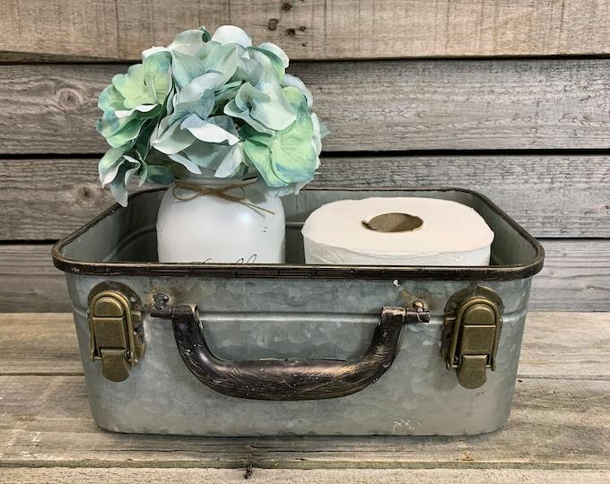 Vintage Bathroom Decor LARGE Rectangular Storage SUITCASE Trunk (Optional Flower and Quart Jar) *Tray Tin Box Toilet Paper Holder Gray