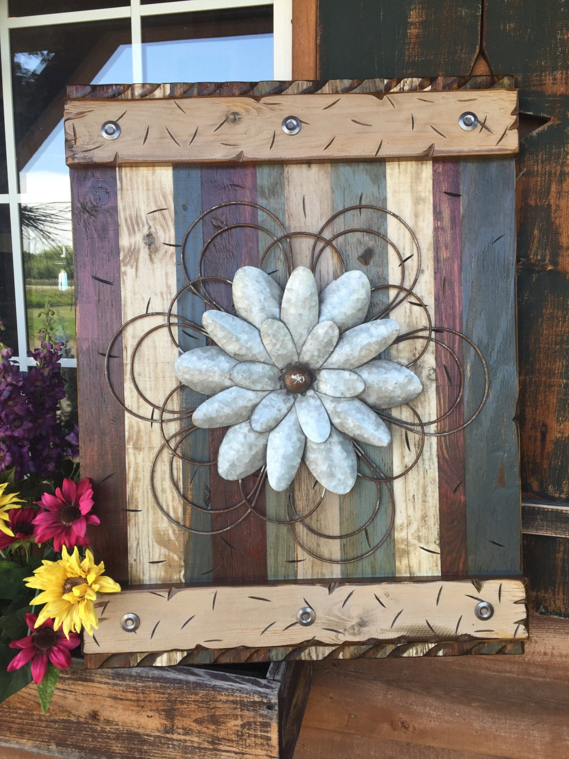 ddb361776cde FLOWER Rustic Sign LARGE Reclaimed Shutter Barn Wood Distressed Industrial  Blue Green Red Metal Flowers Pallet Wall Home Decor Log Cabin