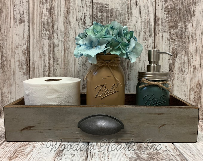 WOOD DRAWER Tray with METAL Handle *Bathroom, Kitchen, or Living Room *Distressed Rustic White Gray 15.75 x 6 Accessories Sold Separately