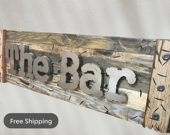The BAR Rustic Sign Reclaimed Shutter Distressed Industrial Navy BLUE GREEN Metal Large Pallet Wall Man Cave Home Decor Gift for Men Beer