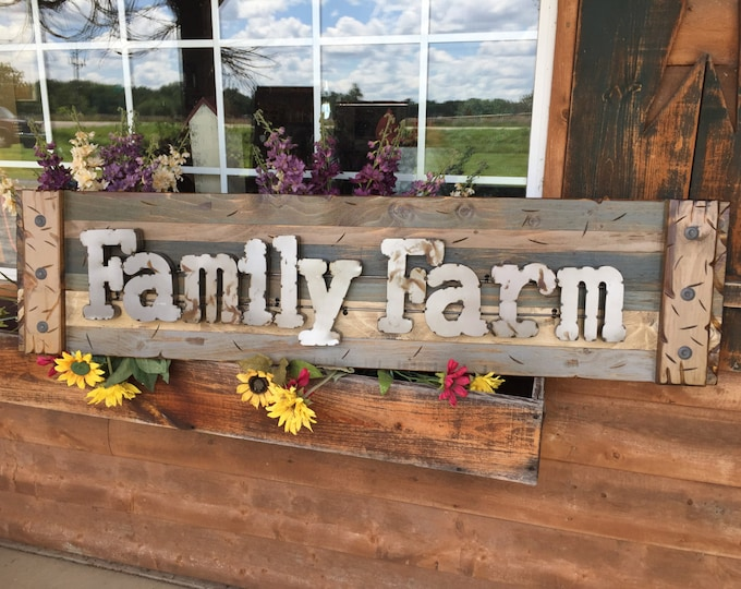 FAMILY FARM Farmhouse Decor Wall Rustic Sign GREEN Reclaimed Wood Shutter Distressed Blue Red Metal Large Outdoor Pallet Cabin Country Home