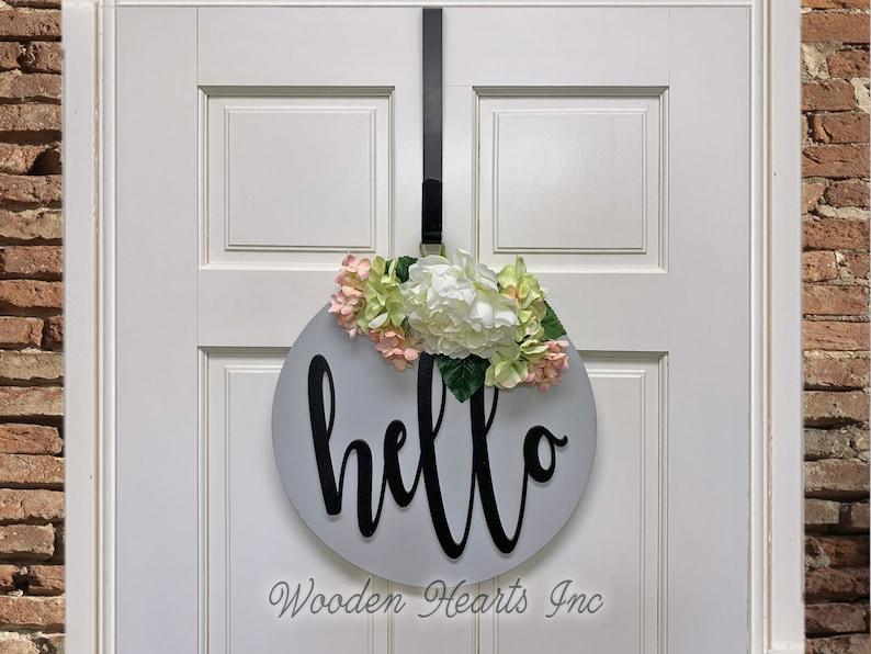 METAL DOOR HANGER Wreath Holder Black 12 inches Over the image 1