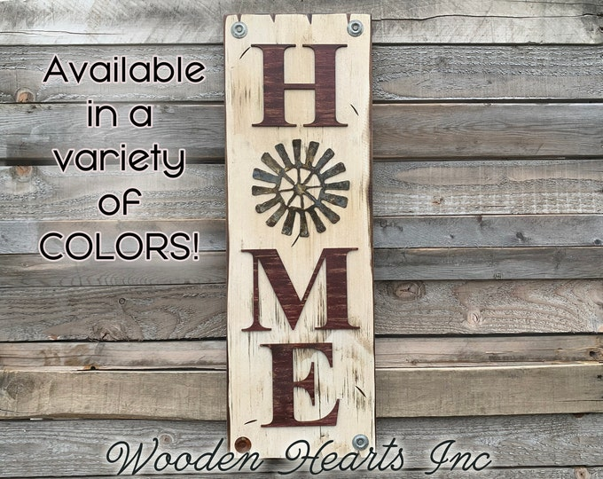 Windmill Wall Decor Sign Home Vertical, Indoor Outdoor Farmhouse Welcome, Rustic Distressed Wood *Antique Red White Brown Blue Tall Xl Large