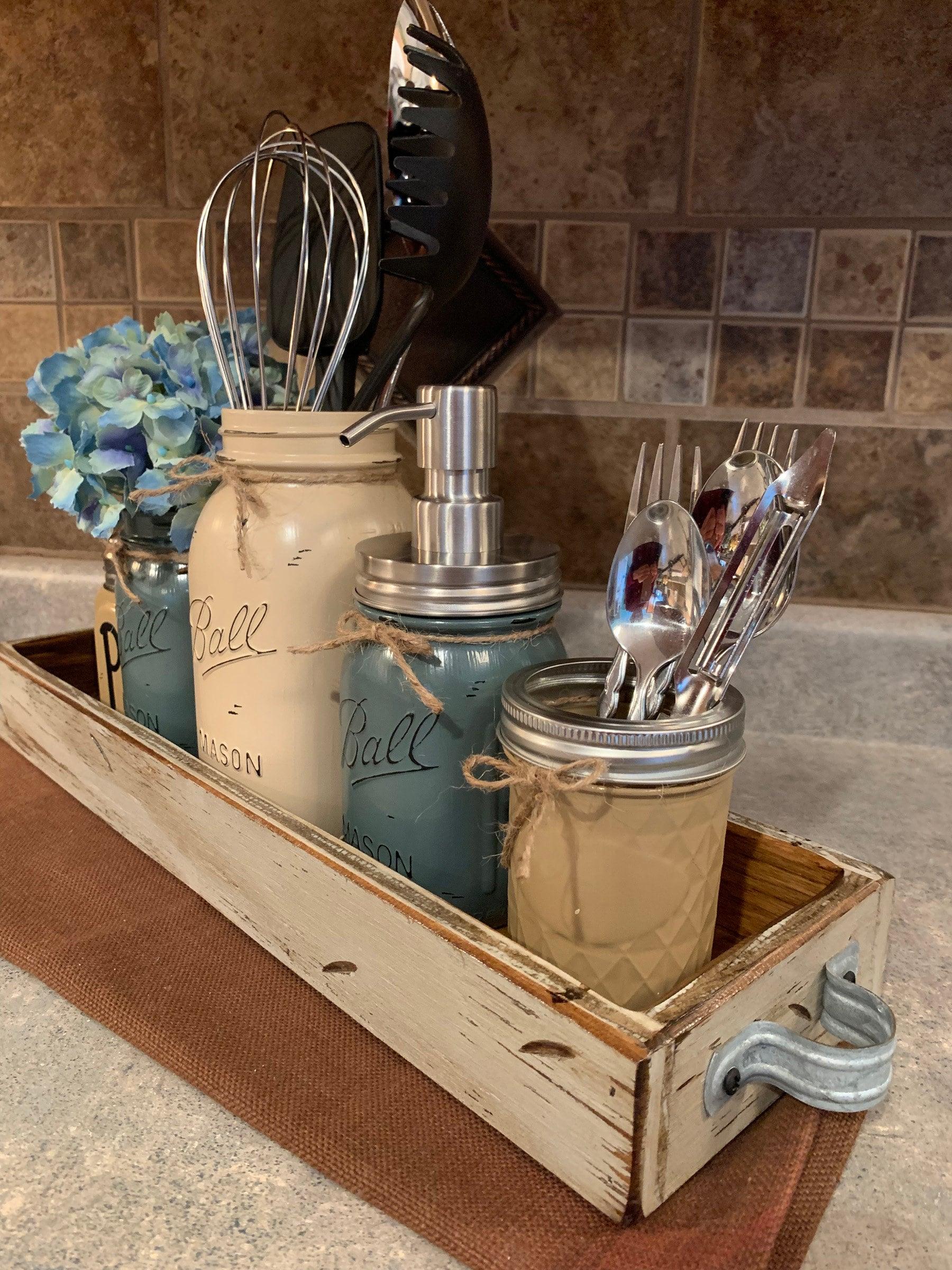 MASON Jar Kitchen Decor Antique Wood TRAY SET, Salt