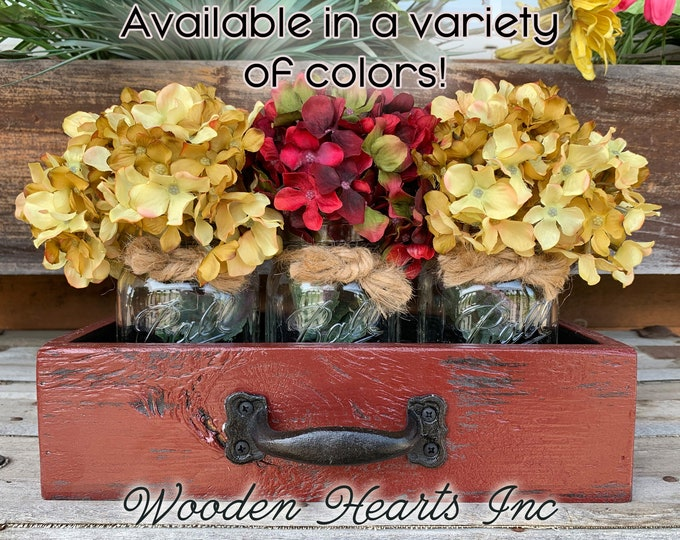 MASON Jar DRAWER Reclaimed Distressed Wood Mail Towel Organizer Box Ball Canning with 3 Jars Crate Caddy Storage Handle Burgundy Red