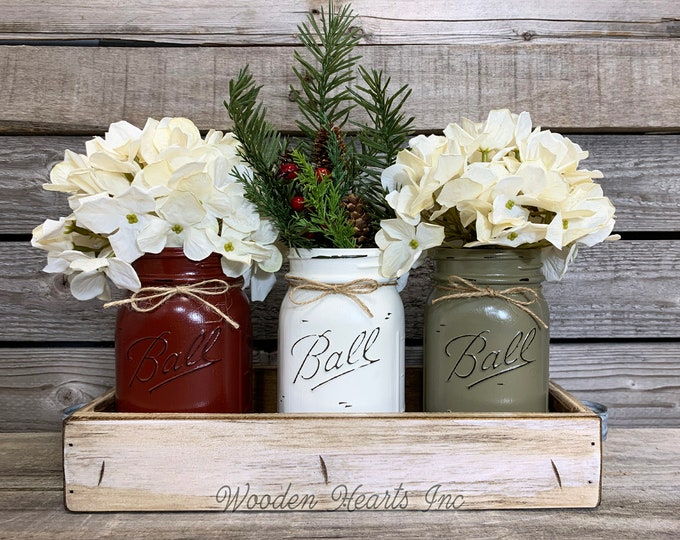 Mason Jar CHRISTMAS HOLIDAY Tray Centerpiece with Jars, Pine Winter Centerpiece, Holiday Decor, Christmas Gift, Kitchen Table Decor, Gift