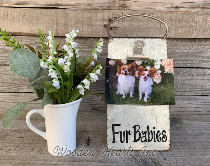 Dog PHOTO HOLDER Metal Antique Cheese Grater with Clip/Clipboard Picture Frame great for 4x6 photos -Vintage Rustic Silver, Fur Baby Babies