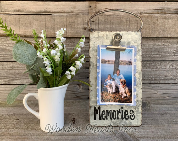 Memories Picture Frame PHOTO HOLDER Metal Antique Cheese Grater with Clip Free Standing Table top 4x6 photos Vintage Rustic Silver Blessings
