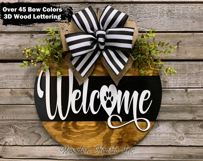 """Pawprint WELCOME Sign Front Door Hanger 16"""" Round with STRIPE, 3D Wood Wreath Bow Ribbon + Greenery, Everyday Sign, Fall Door Sign, Gift"""