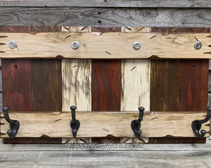 "COAT RACK Wall with Metal 4 Hooks Rustic Reclaimed Distressed Sturdy Wood Cabin Entryway Bathroom Office Red Blue Brown Burgundy Log 28"""